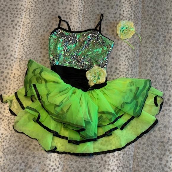 Neon green & black funky jazz costume tulle skirt.